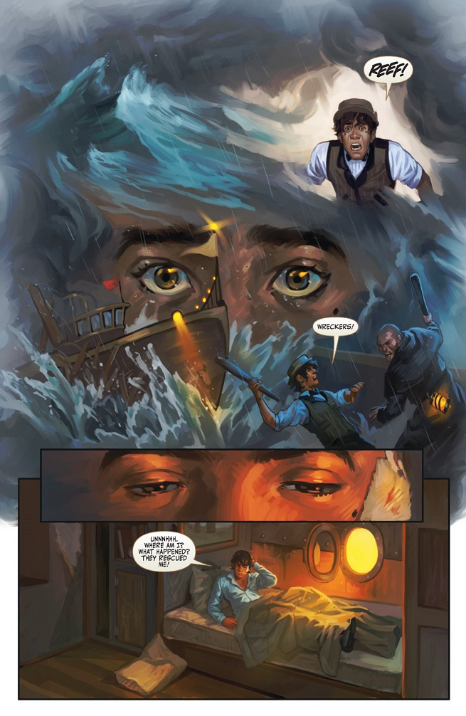 A sample page from the comic series, Clockwork Angels.  The reds and blues are brilliant, as are the emotions depicted.  Art by Nick Robles.